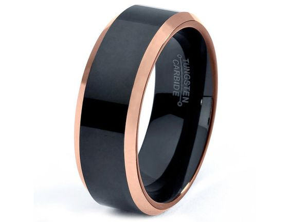 Rose Gold Wedding Band Ring Tungsten Carbide 8mm 18K Tungsten Brushed Ring Man Wedding Band Male Women Custom Black Enemeled Anniversary on Etsy, $337.77