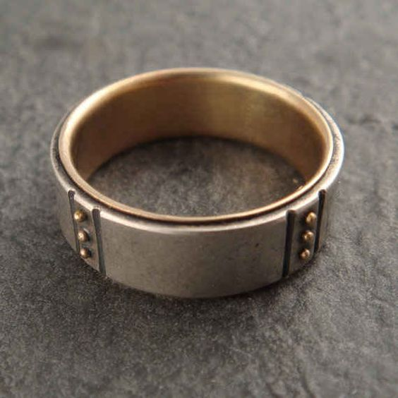 Sterling Ring with Gold Granules, $275
