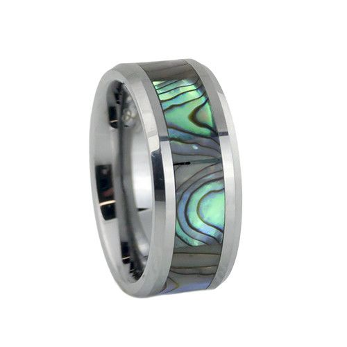 Mother of pearl inlay tungsten wedding rings