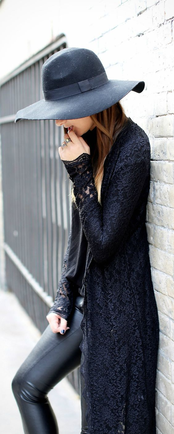 All Black :: leather and lace perfect combination