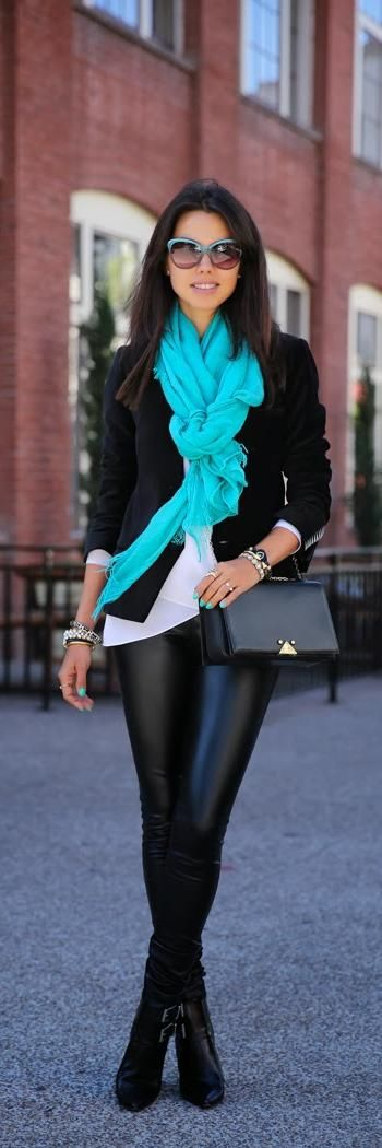 all black with a color pop: Jacket, Turquoise Scarf, Color, Outfit, Fashion Blog, Black Leather Pants, Fall Fashion, Ray Ban Sunglasses, Leather Leggings