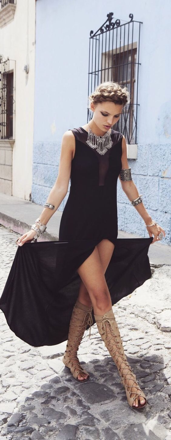 Black dress with gladiator sandals
