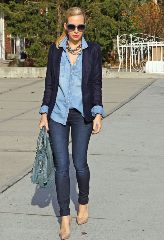 Chambray button down with navy blazer and nude pumps.. would look cute with a denim pencil skirt or a pop of colour!