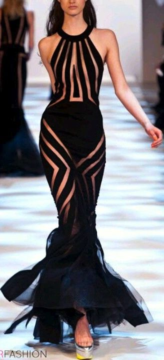 Gorgeous full length BLACK gown with sheer mesh stripes racing all over the dress , PARIS HAUTE COUTURE FASHION FALL 2013 GOTHIC EVENING GOWNS  -Rich Beverly Hills  Fashion Kid