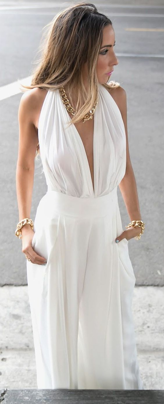 Haute And Rebellious Shop White Sexy Palazzo Pants Deep Plunge V-neck Jumpsuit by Haute And Rebellious: White Jumpsuit, Palazzo Pants, Deep Plunge, Rebellious Shop, Sexy Palazzo
