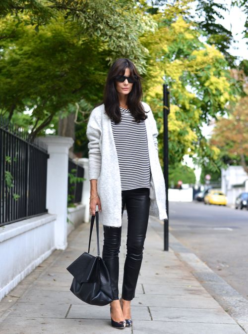 leather and stripes Women´s Fashion Style Inspiration - Moda Feminina Estilo Inspiração - Look - Outfit