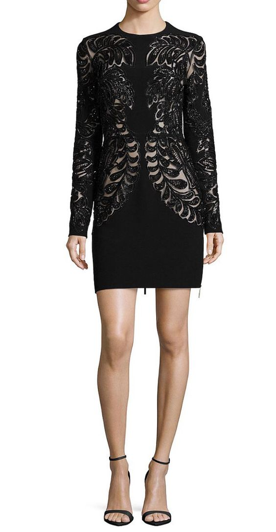 Long-sleeve lace cutout cocktail dress by Elie Saab.
