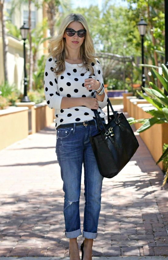 Mint Green Jeans and Polka Dots. But with different boots
