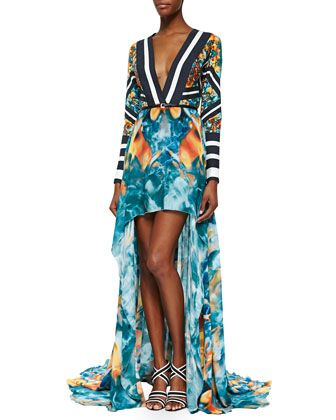 Mixed-Print+Long-Sleeve+High-Low+Gown+by+Elie+Saab+at+Neiman+Marcus.