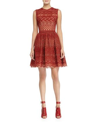 Sleeveless Fit-&-Flare Lace Dress, Cadillac by Elie Saab at Neiman Marcus.