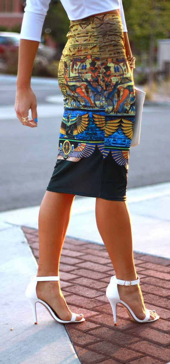 Women's fashion   Egyptian printed pencil skirt, white blouse and heels