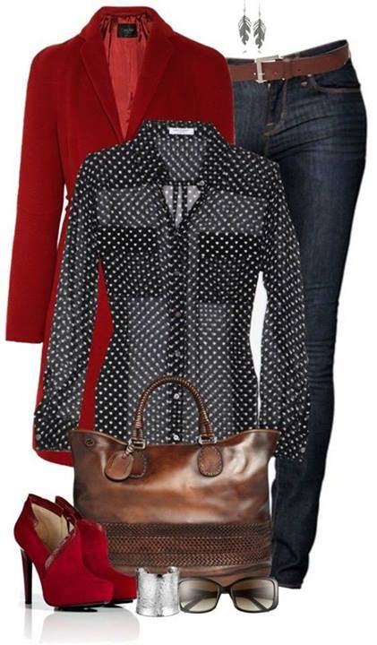 Dear Stitch-Fix Stylist: I LOVE these red booties and the polka dots, and the red jacket.. pretty much everything about this outfit except the height of the heels (too tall)!: Fashion, Polka Dots, Outfit Ideas, Style, Red Booties, Red Jacket Outfit, Red O