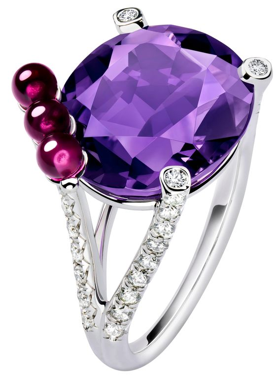 Limelight Cherry Dream Cocktail Inspiration #ring by Piaget with an amethyst, three rubellites and brilliant-cut diamonds set on a white gold base