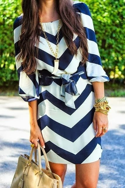 Navy & White Chevron.  Light enough fabric for summer, but sleeves and length appropriate for work