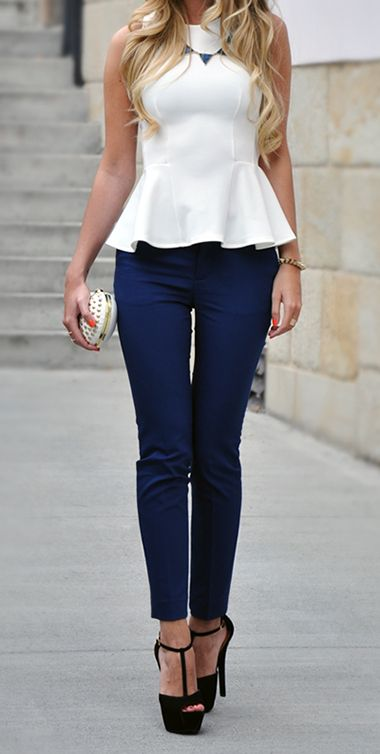 peplum and t-bar shoes