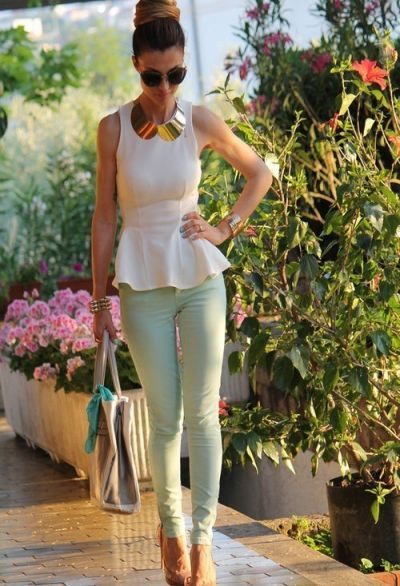 Peplum top and mint green skinny jeans