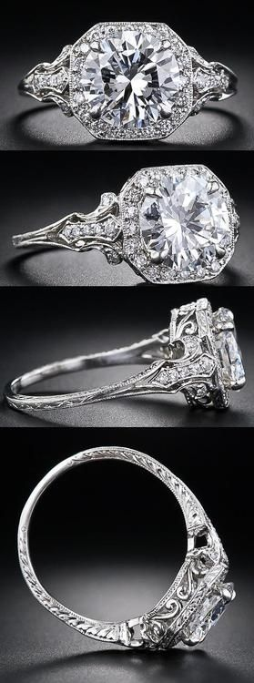 2.17 Carat 'D' color diamond Edwardian style engagement ring at Lang Antiques. Via Diamonds in the Library.