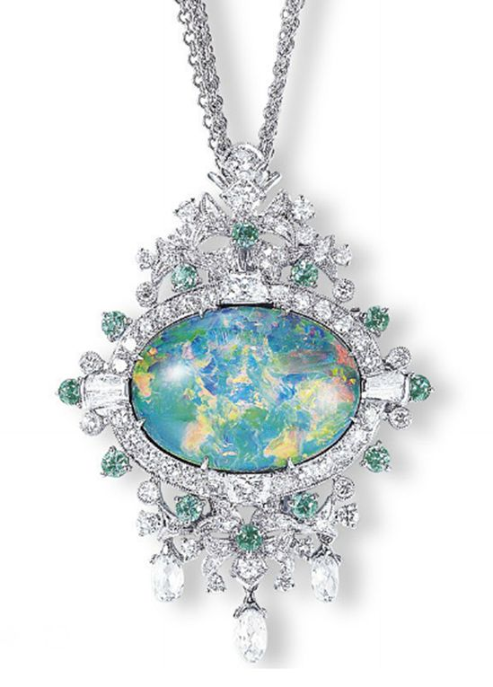 A BLACK OPAL, ALEXANDRITE AND DIAMOND PENDENT NECKLACE/BROOCH, BY MITSUO KAJI  Horizontally-set with a detachable black opal pendant weighing 19.14 carats, within a pierced pavé-set diamond and circular-cut alexandrite surround, flanked by tapered baguett