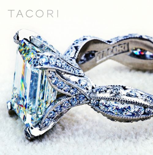 A custom engagement ring, inspired by Tacori's RoyalT HT 2602 PR 8.5 with 2.7 carat emerald- cut center diamond (SO 123675). Via Tacori.