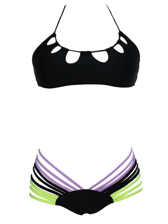 Black Halter Cut Out Bikini Top And Strappy Hipster Bottom