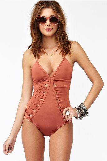 cinnamon colored swim suit #summer