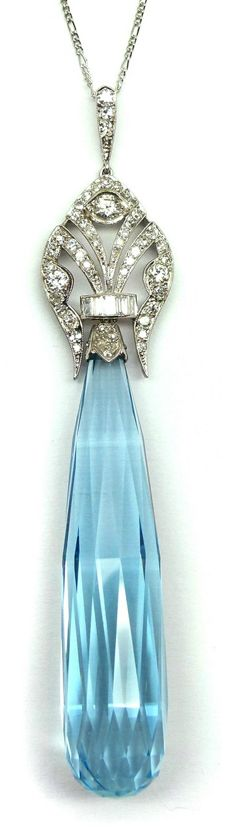 Early Art Deco briolette cut aquamarine and diamond pendant, French c.1920. S.J. Phillips Ltd.