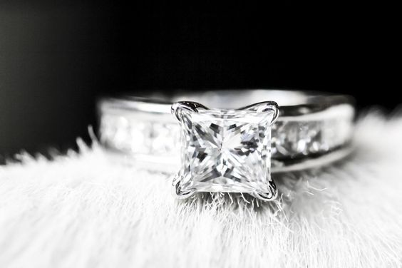 Elongated Princess Cut Diamond Engagement Ring and Wedding Set - LS1394: Diamond Engagement Rings, Beautiful Engagement Rings, Princess Cut Diamonds, Weddings, Wedding Band, Engagementrings, Jewelry, Wedding Rings
