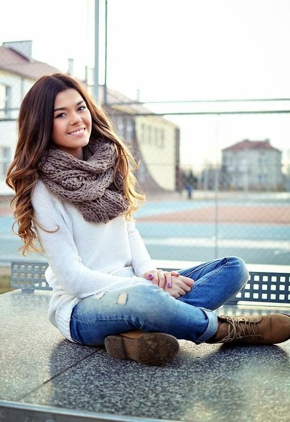 Fall Outfit With Scarf and Brown Boots LOOK AT THE JEANS AND BOOTS!!! Love the rolled up style: Falloutfit, Style, Dream Closet, Infinity Scarf, Winter Outfit, Fall Outfits, Fall Fashion, Fall Winter