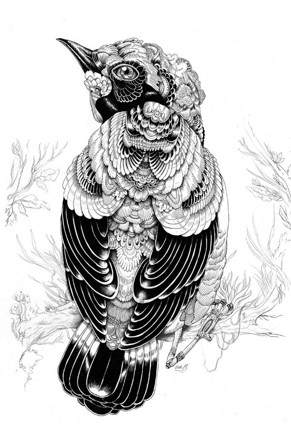 Iain Macarthur  |  Swindon, United Kingdom  |  Solo exhibition in LA at the Phonebooth Gallery  |  Showcased pieces based around animals. Used techniques such as geometrical patterns and also nature elements to create the faces and the bodies of the chose