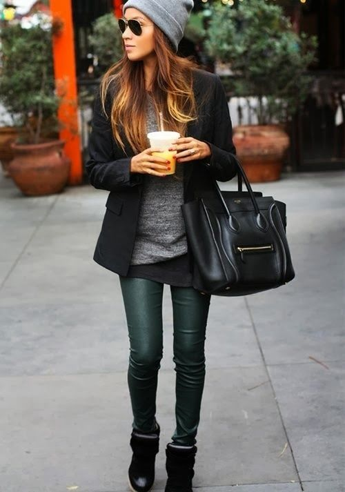 Cute! This casual look still has a way of being stylish without much effort.: Fashion, Inspiration, Green Leather, Street Style, Fall Outfit, Leather Pants, Fall Winter, Green Pants