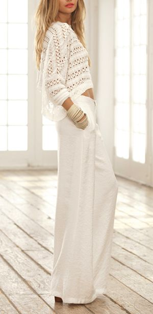 Fashion clothes from http://findgoodstoday.com/womensfashion: Sweater, Fashion, All White, Style, Spring Summer, Classy Summer Outfits Beach, White Outfit, Top