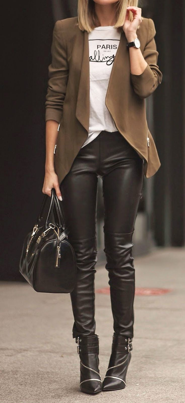 Found on Ebay: Leather Skinnies, Street Styles, Black Leather Pants, Brown Blazer, Black Leather Leggings, Fall Winter, Brown Leather Pants Outfit, Graphic Tee, Leather Leggings Outfit