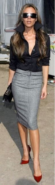 Outfit Posts: outfit post: black crepe button blouse, grey pencil skirt, burgundy heels: Fashion, Street Style, Victoria Beckham, Victoriabeckham, Pencil Skirts, Work Outfit, Black Blouse, Grey Pencil Skirt