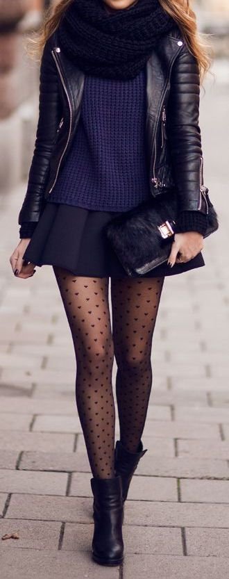 Woman. Fashion. Street. Style. Trend. Leather Jacket. Rough. Outfit. Skirt. Short. Dots. Legs. Slim. Fit. Layers. Autumn. Great Taste. Outfit. Clothing. Boots. City. Youth. Scarf. Tube. handbag. Details. Knit. Beauty.: Fashion, Street Style, Infinity Scar