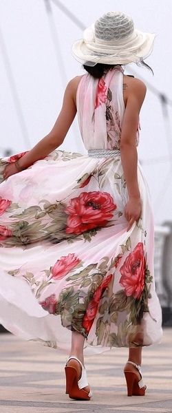 I adore this dress, and look forward to next spring. The dress flows, and is free, with the large print it is beautiful. This look is a true winner of feeling beautiful, fun loving and special. Exceptional !!!