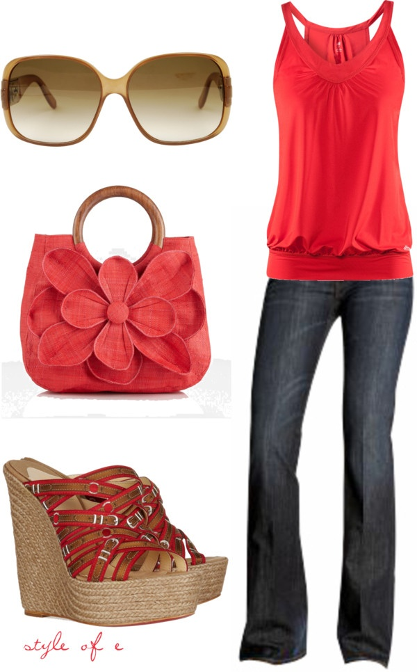 """""""Summer Red"""" by styleofe on Polyvore: Fashion, Purse, Style, Summer Red, Dream Closet, Clothes, Spring Summer, Summer Outfits, Cute Outfit"""