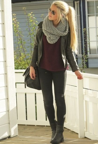 #fall outfit. The pop of purple contrasts well with the grays. I think a fun textured colored scarf would really make the outfit.: Falloutfit, Style, Dream Closet, Infinity Scarf, Winter Outfit, Fall Outfits, Fall Fashion, Fall Winter