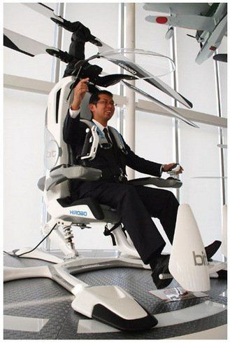 ★☯★Hirobo Japanese #Aircraft company developing personal #electric #helicopter ★☯★  Called HX-1, Hirobo's helicopter can hoist a single person into the air at speeds of over 60 mph for up to 30 minutes at a stretch. It's completely electric, which