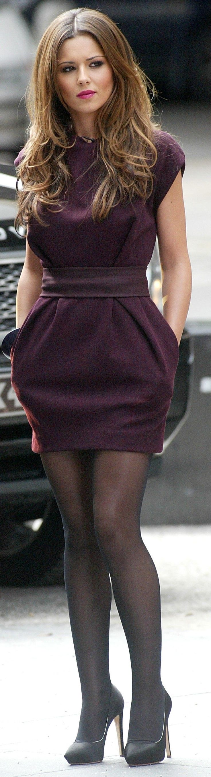 http://www.trendzystreet.com/clothing/dresses - ♥ Cute dress ~ great hair  LOVE This Dress!!!: Girl, Fashion Style, Cute Dresses, Outfit, Cheryl Cole, Pantyhose, Hair Color, Plum Dresses