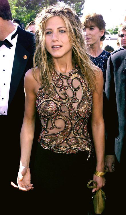 Jennifer Aniston in black and gold dress: Jennifer Aniston Fashion, Jennifer Aniston 90S, Jennifer Aniston Friends, 90S Jennifer Aniston, Jennifer Aniston Hair Rachel, Aniston Style, Only Aniston, Jenniferaniston