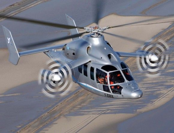 Jet Meets Heli: Rolls-Royce Powered Eurocopter X3 prototype, which combines the technology of a turboprop plane with traditional helicopter engineering, just attained an airspeed of 180 knots (207 mph) in level flight in testing in Istres, France. : Euroc