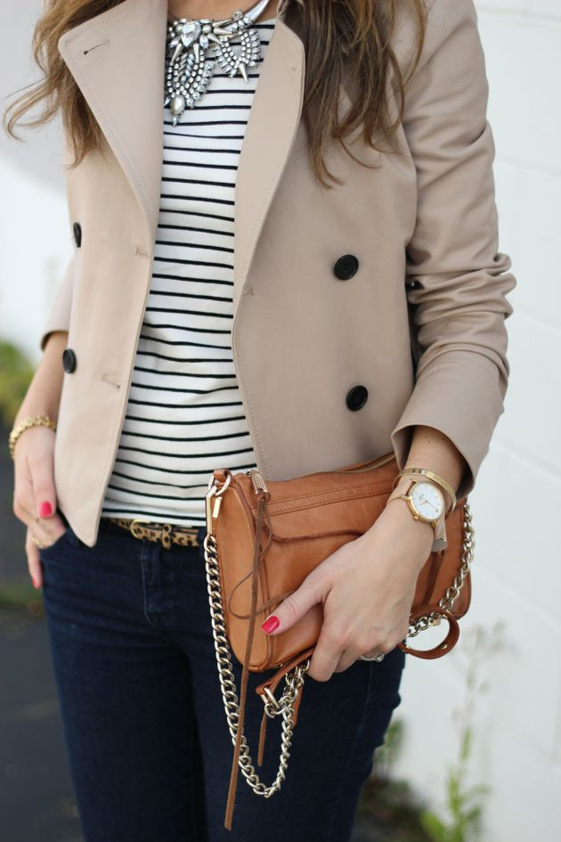 Lilly Style: feeling Parisian - Fall Style - cropped beige trench coat, striped t-shirt, dark skinny jeans, leopard animal print belt, clutch, statement necklace: Preppy Short, Fall Style, Statement Necklace, Beige Trench Coat Outfit, Preppy Outfit