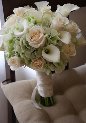 Pale Green Hydrangea, Cream Roses, White Calla Lily Bouquet: Rose, Bridal Bouquets, Wedding Ideas, Wedding Bouquets, Wedding Flowers, Green Hydrangea, Calla Lily