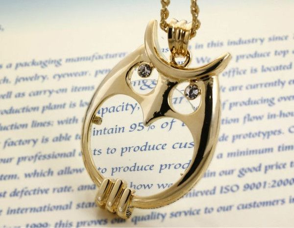 Problem: It is getting harder to read fine print on things like menus and labels. Solution: A  stylish and functional magnifying pendant necklace. The owl features sparkling eyes and a 2x magnifier making it easier to read labels, menus, price tags and ev