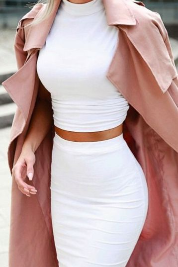white halter/ turtleneck top with white pencil skirt and blush pink trench structured coat fall or winter date outfit fashion: