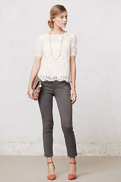 Elysian Lace Top on Anthropologie - I want the whole outfit, including the shoes, bag, necklace. NOW.: Lace Tops, Style, Lace Blouse, Work Outfit, Anthropologie Outfit, Gray Pant, Elysian Lace
