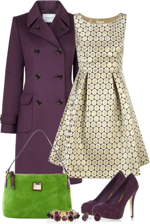 absolutely gorgeous dress and the purple coat is very cute - everything but the green purse.: Fashion, Purple Outfit, Green Bag, Style, Clothes, The Dress, Green Purse