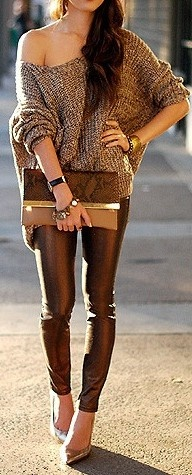 chic and cozy...love the leather pants, the feminine pointed heels and the sexy off the shoulder sweater: Outfits, Fashion, Style, Fall Outfit, Brown, Fall Winter, Wear