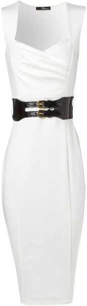 Cream Ponti Sleeveless Dress  Jane Norman: Rehearsal Dinners, Black Patent Leather, Sleeveless Dresses, Black Belt, Black White, White Dress, Cream Ponti, Black Rocks, Leather Belts