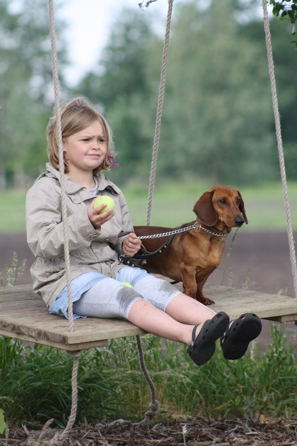 Dachshund and little girl swinging.  National Dogs by Romana van Dongen-Lutt: Friends Doxie, Best Friends, Vans, Dachshund, Doxie Dogs, Doxies, Baby Dogs, National Dogs, Photo